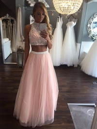 Pink 2 Piece Prom Dresses Long Beaded Girls by prom ...