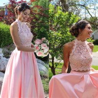 pink prom dresses,two piece prom dress, 2 piece prom by ...