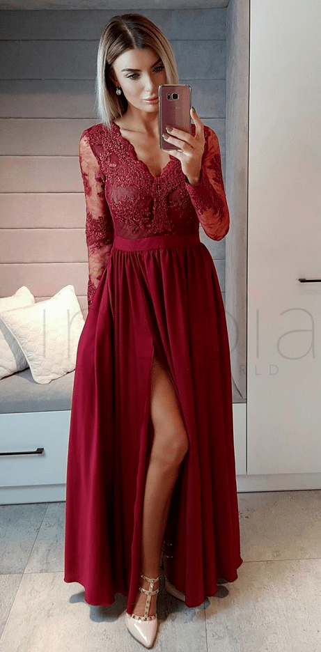 prom dresses ,Long Sleeves Wine Red Formal by prom dresses