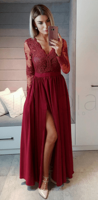 prom dresses ,Long Sleeves Wine Red Formal by prom dresses ...