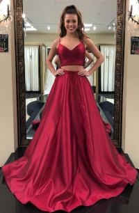 Two-Piece Red Prom Dress,Stain Prom by prom dresses on Zibbet