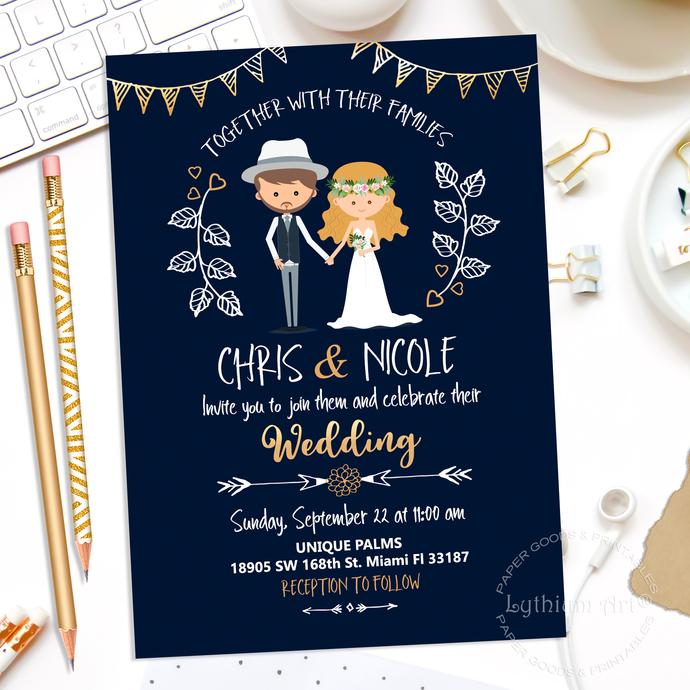 Modern Wedding Invitation, Wedding Invitation, by Lythiumart on Zibbet