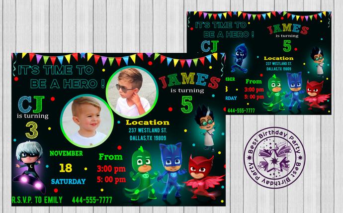 pj masks boys birthday invitations double pj masks party invites pj mask invitation pj masks double birthday party invitation pj masks