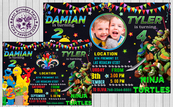 siblings boys invitations double birthday invitation twin birthday invitations combined birthday party invitations dual theme birthday