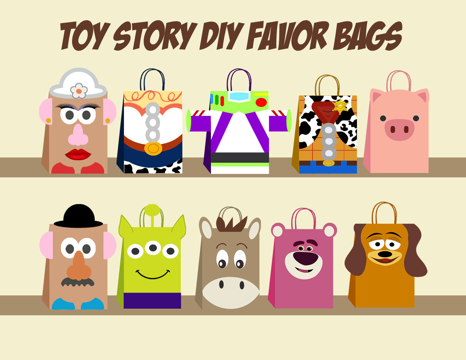 Toy Story Diy Favor Bag Template Toy Story By