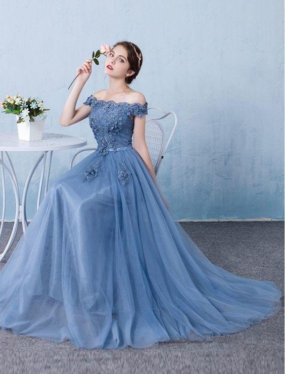Elegant Baby Blue Prom DressOff The Shoulder by prom dresses on