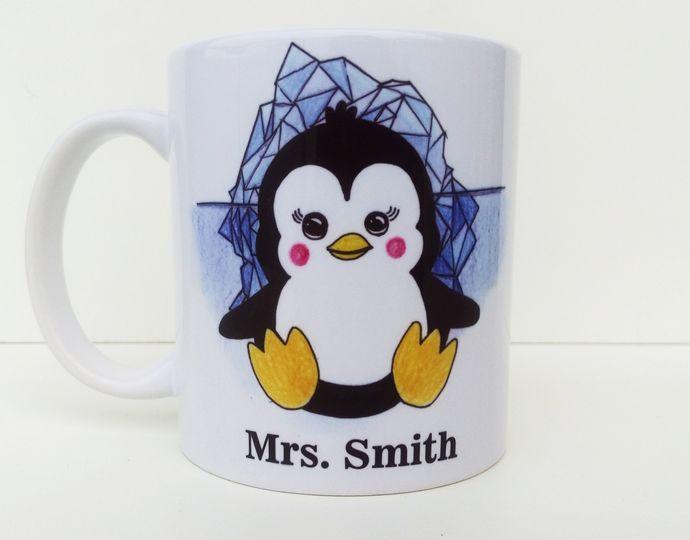 penguin gift personalised mug