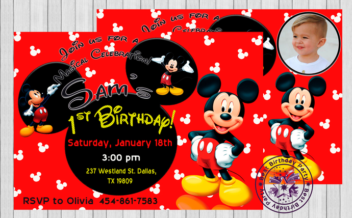 1st birthday party invitations mickey mouse 1st birthday invitations invitation invitation mickey mouse 1st birthday invitation invite