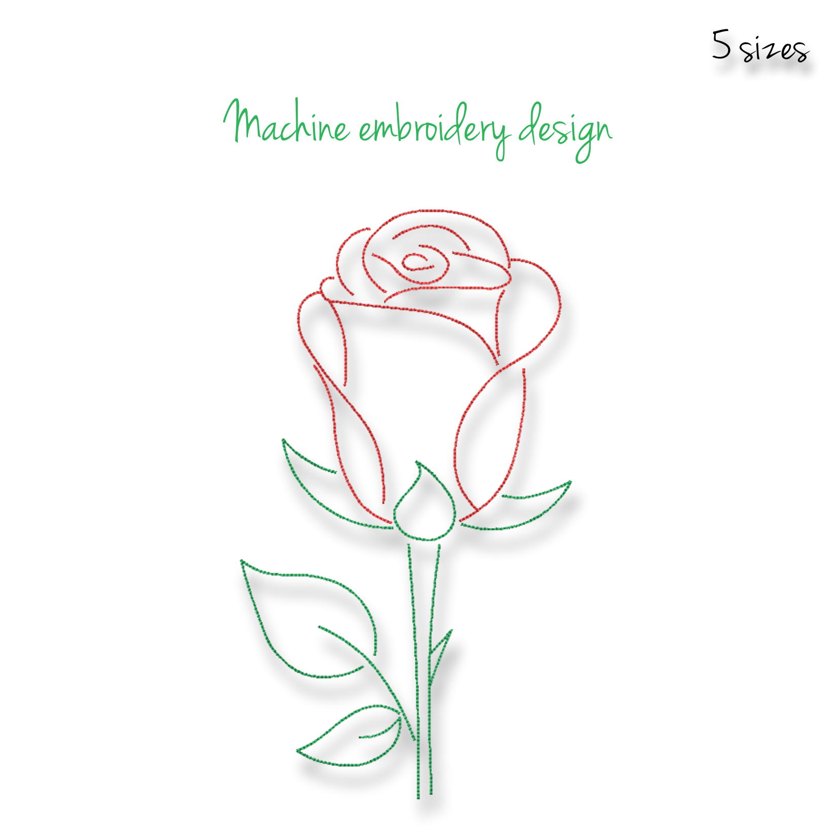 Rose Embroidery Machine Design Outline