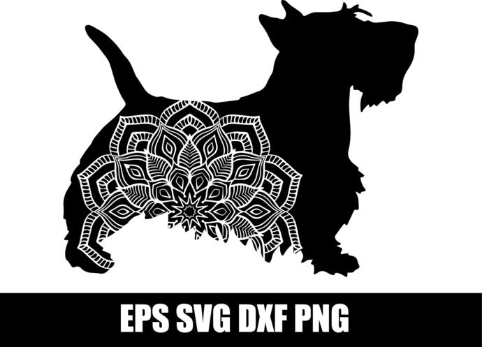 Download Scottie, Dog Mandala, SVG, DXF, pdf, png, eps, by SvgGyn ...
