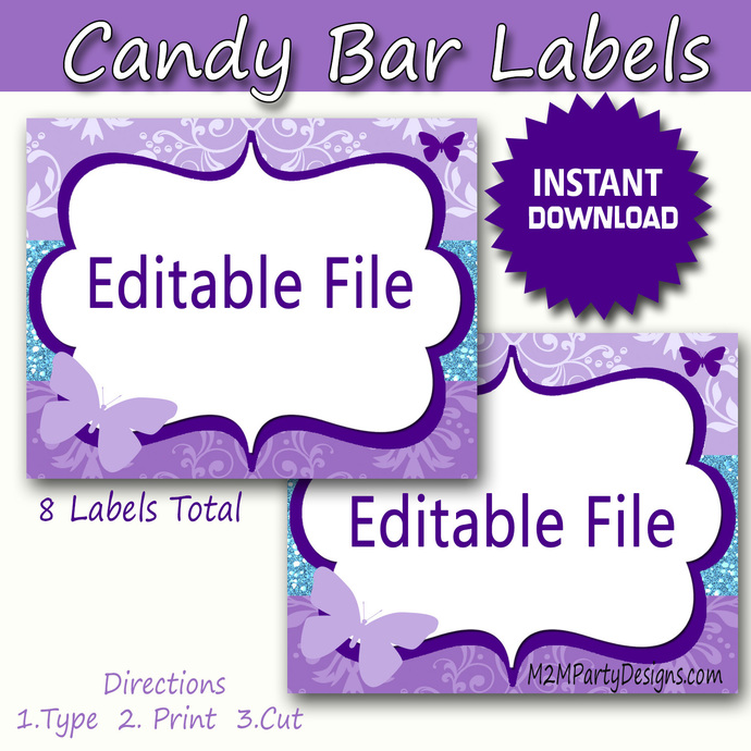 candy buffet labels butterfly