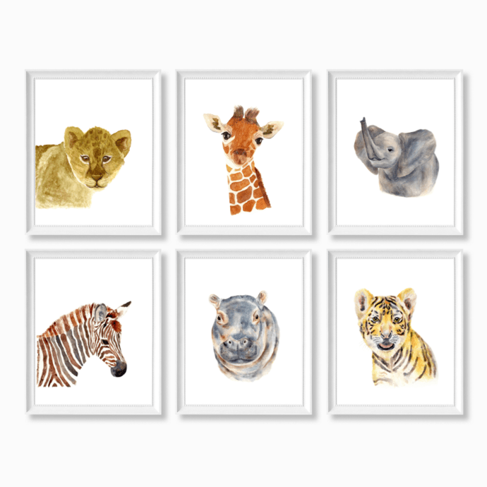 safari nursery prints set