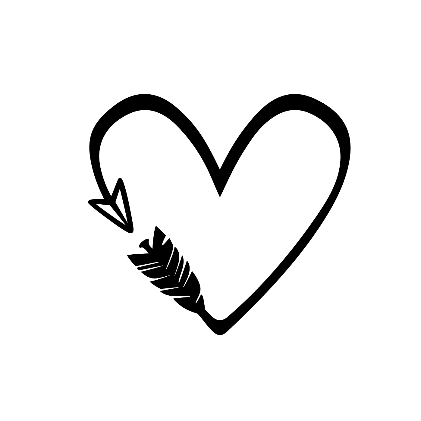 Heart Arrow Love Graphics SVG Dxf EPS Png Cdr by