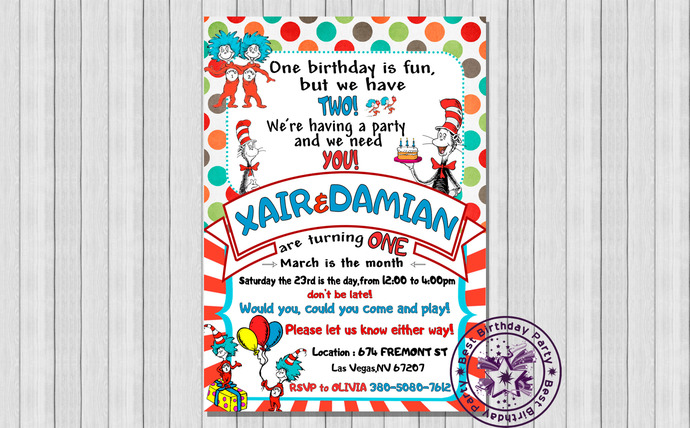 dr seuss twins 1st birthday invitations dr seuss twins birthday invitations dr seuss twin birthday cat in the hat 1st birthday invite