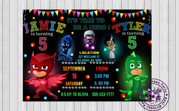pj mask double birthday party invitation pj masks birthday invitation pj masks sibling invitation green gekko and owlette invitations