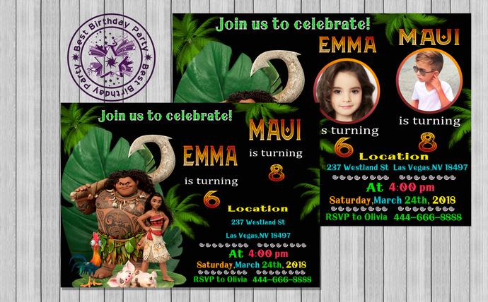 moana double birthday party moana and maui birthday party invitations moana and maui invitations moana and maui birthday invitations
