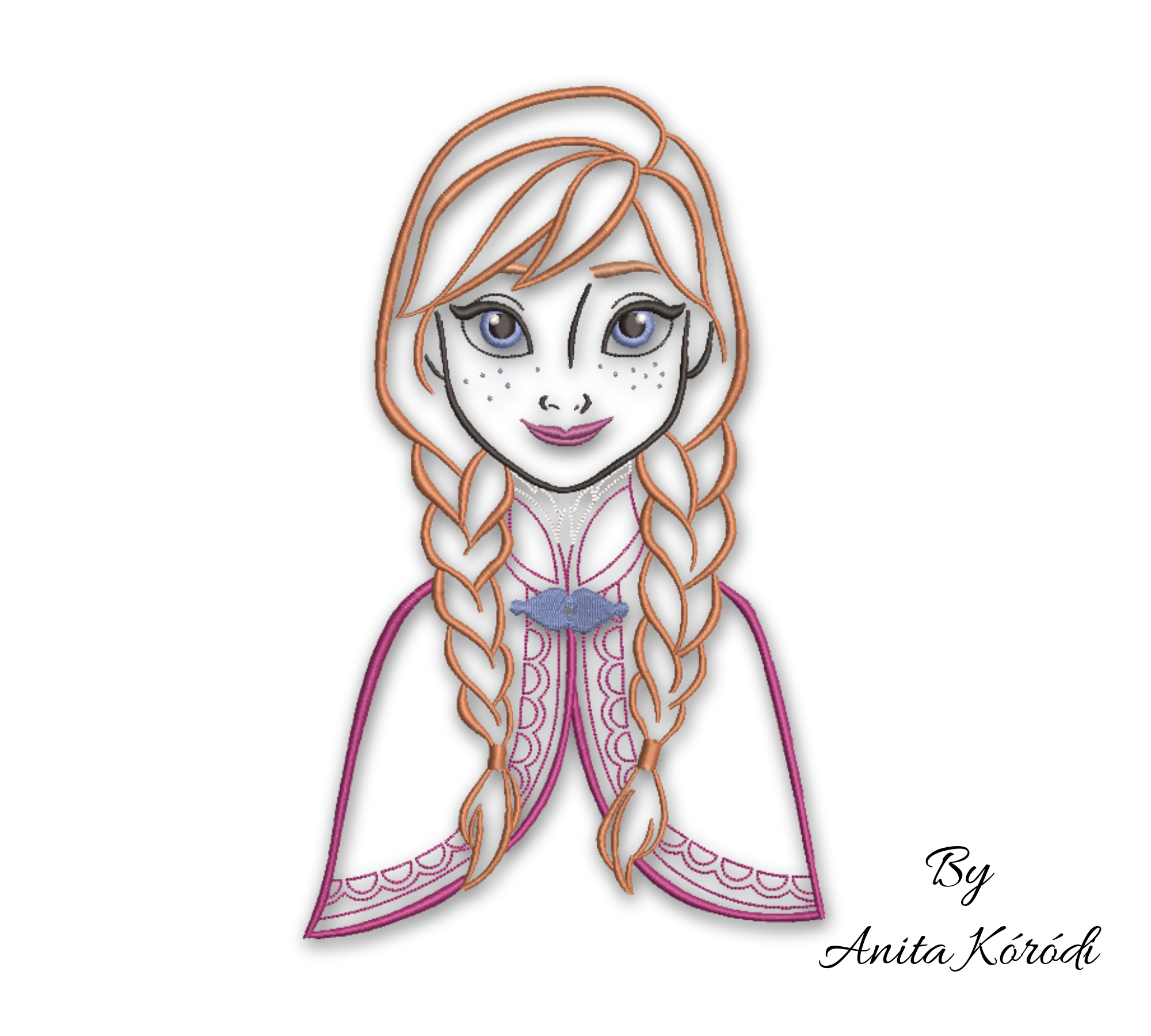 Frozen Anna Machine Embroidery Outline By Gretaembroidery