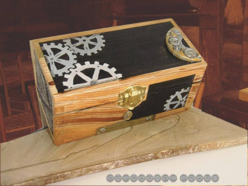 handpainted Steampunk wood box with polymer by