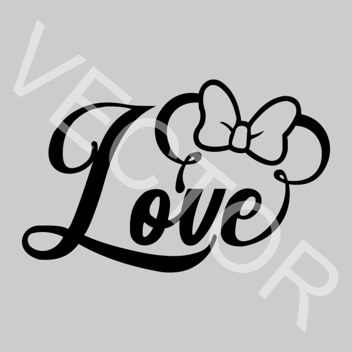 Download Love Minnie Mouse Graphics SVG Dxf EPS Png by vectordesign ...