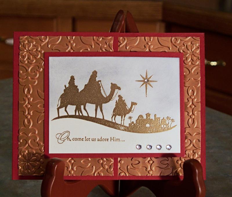 Handmade Foil Embossed Christmas Card Stampin WhimsyArt