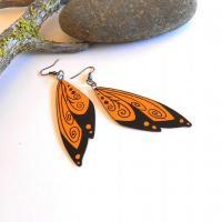 Wing earrings painted wood pumpkin by CrowsdanceDesigns on ...