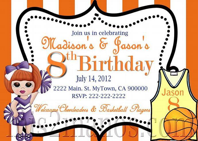 basketball and cheerleader birthday invitation printable invitations twins birthday party invitations print at home