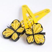 yellow butterfly hairclips - handmade