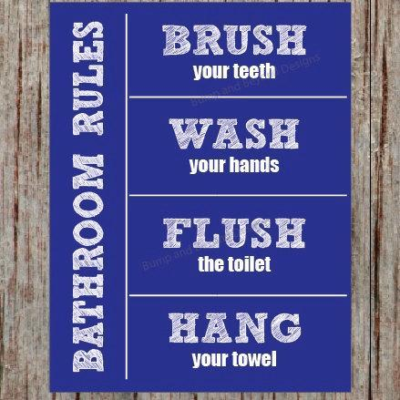 bathroom rules wall art kids bathroom by bumpandbeyonddesigns on