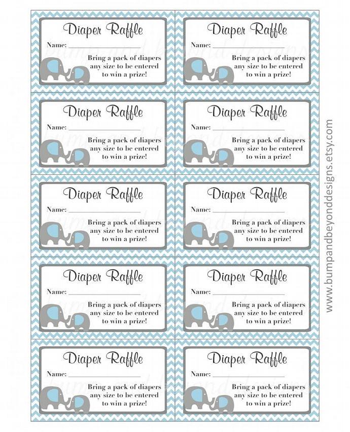 Diaper Raffle Tickets Printable : diaper, raffle, tickets, printable, Elephant, Diaper, Raffle, Tickets, Bumpandbeyonddesigns