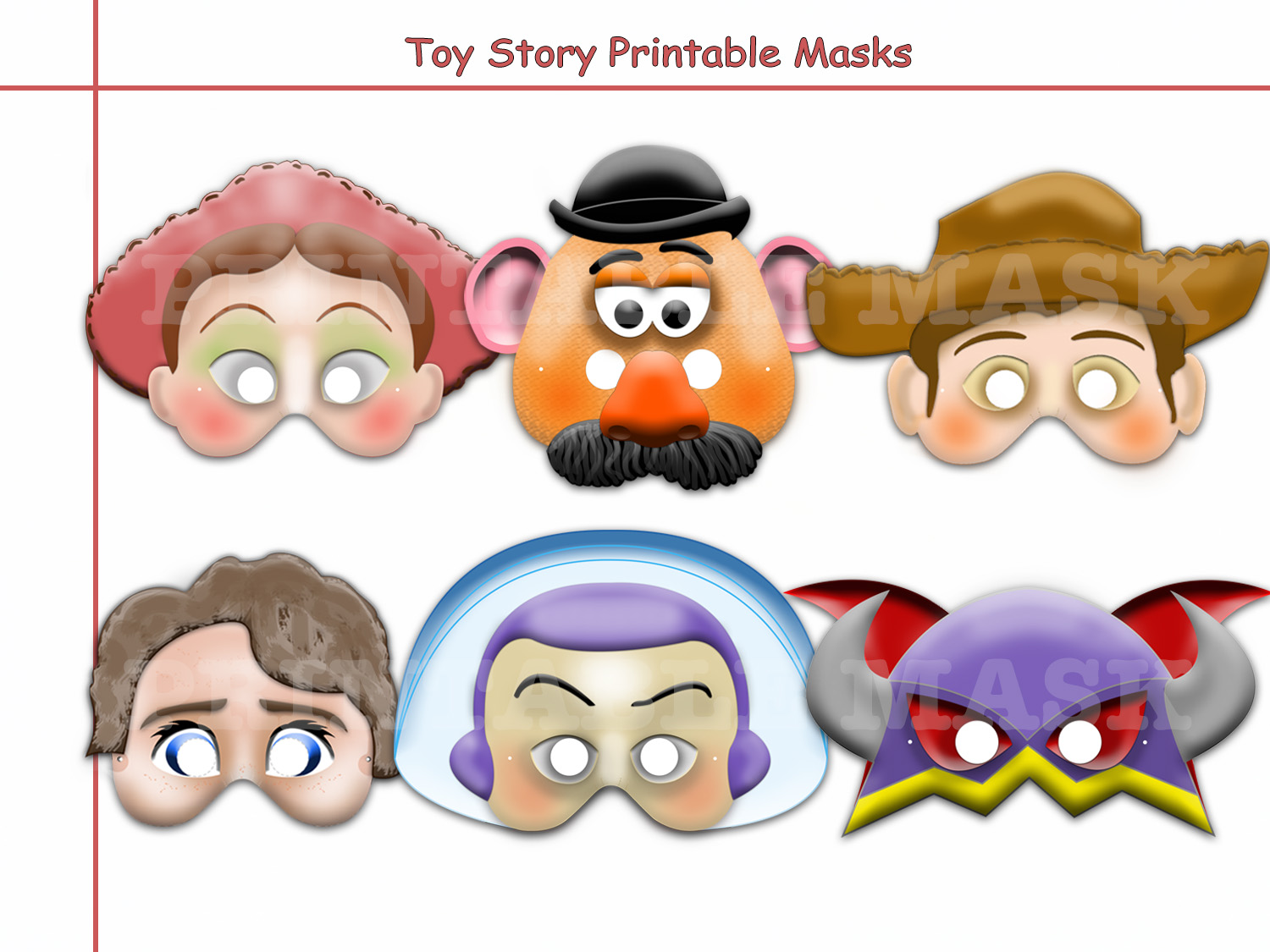 Unique Disney Toy Story Printable Masks By