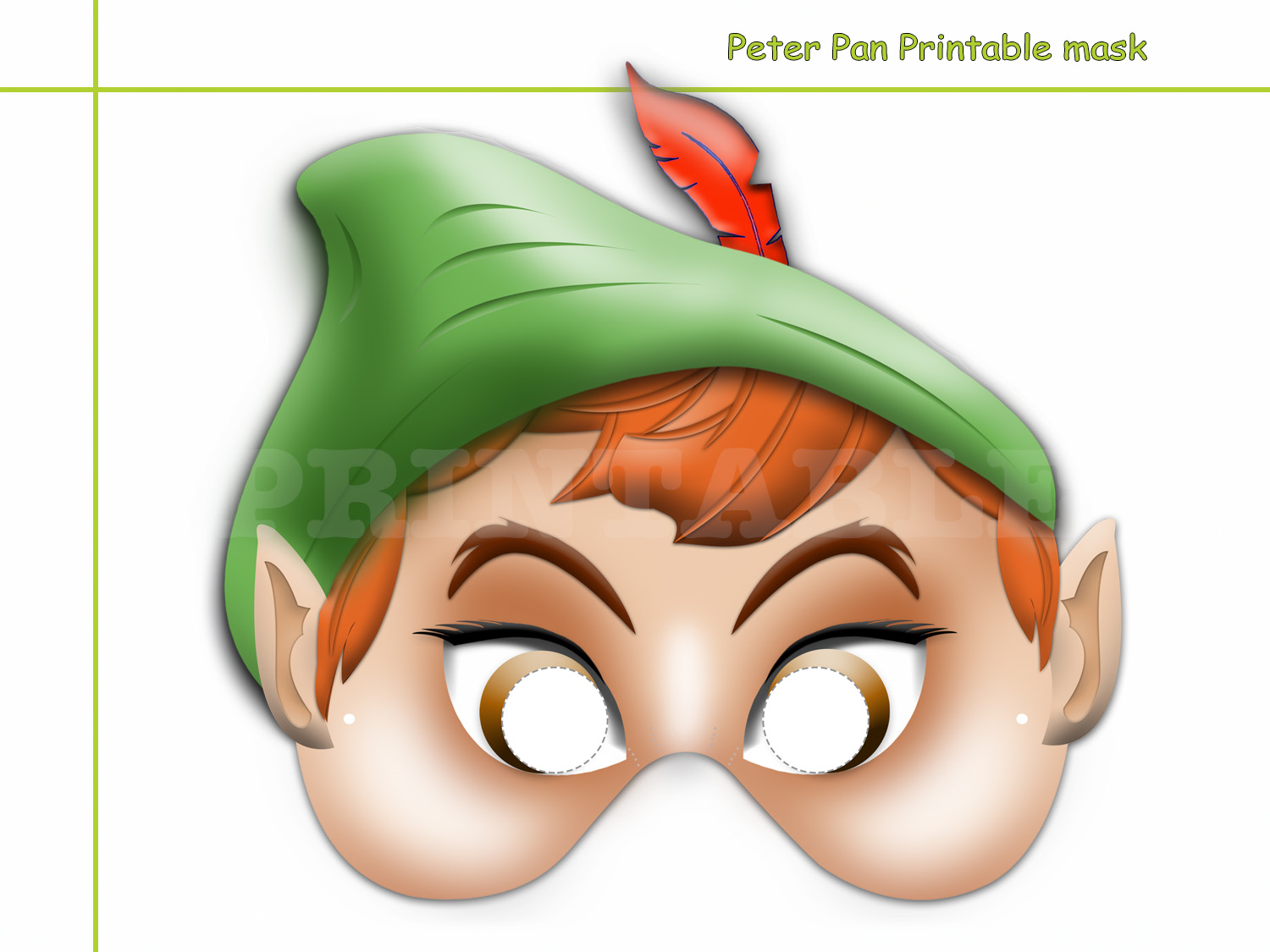 Unique Peter Pan Printable Mask By Holidaypartystar On Zibbet