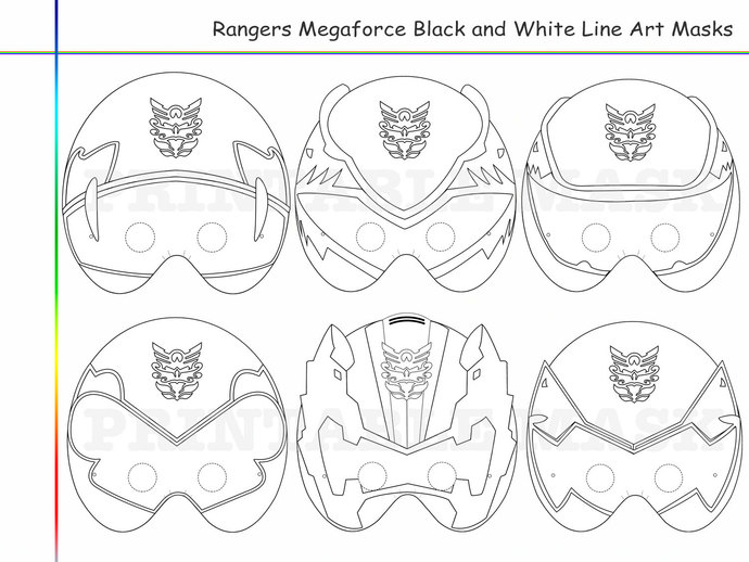 Coloring Pages 6 Rangers Megaforce Party by
