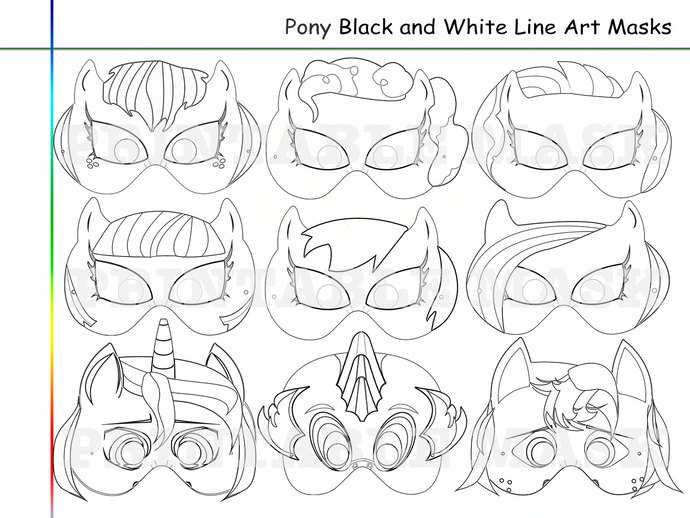 Coloring Pages Pony Party Printable Black by