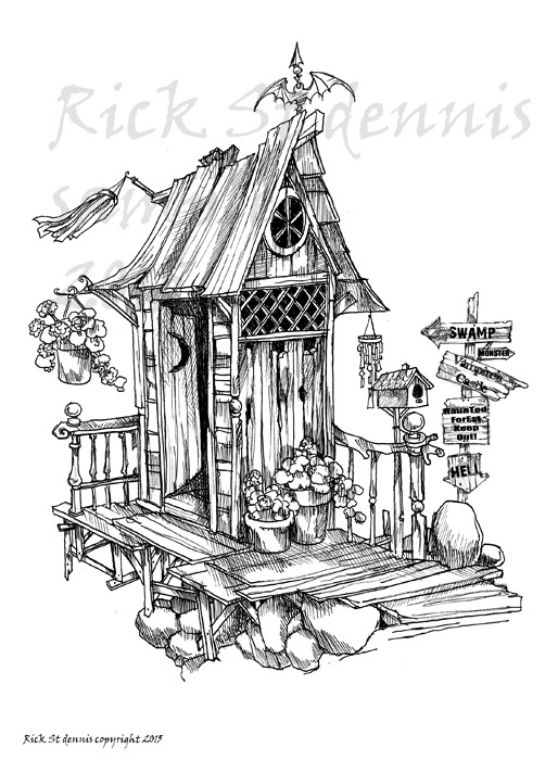 2015 HaunTed OUTHOUSE digital stamp by Rick1949 on Zibbet