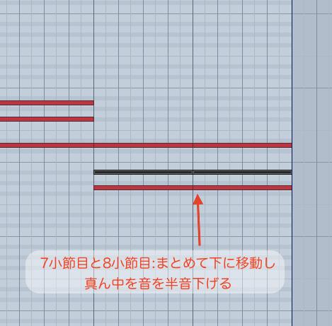 7小節目と8小節目のコードを編集