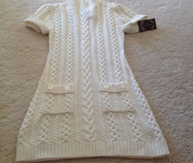 Girls White Sweater Dress Size