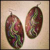 Hand Painted Wood Earrings With Unique Designs | Poshmark