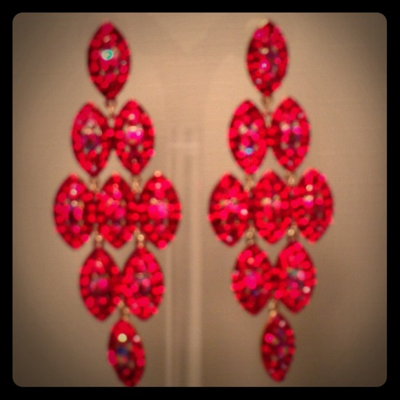 Red AB stone pageant earrings OS from Cuppaken.com's