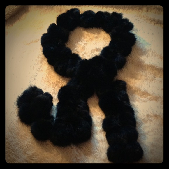 Accessories  Long Black Rabbit Fur Pom Pom Scarf  Poshmark