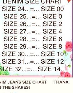 Jeans size chart also poshmark rh