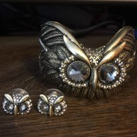 91% off Fossil Jewelry - Fossil owl bangle and earrings ...