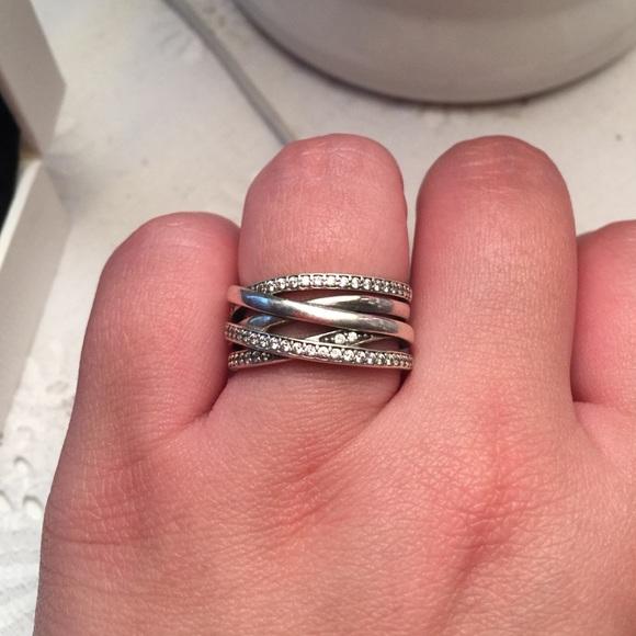 48 off Pandora Jewelry  REDUCED Pandora Silver ring with CZ from Katies closet on Poshmark