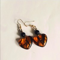 Vintage - Vintage clear heart tortuous plastic earrings ...
