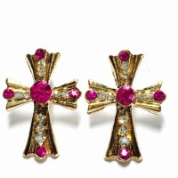 Pink and crystal cross earrings OS from Abbey's closet on ...