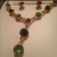 Liz Claiborne - Matching necklace and earring set green ...