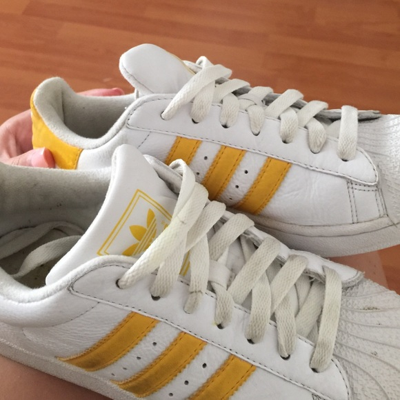 44 off Adidas Shoes White with yellow adidas superstar