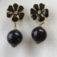 Vintage - Two Sisters Flower faux Black Pearl Clip ...