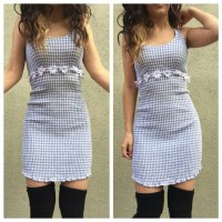 Vintage Dresses | 90s Gingham Daisy Dress Baby Blue Small ...