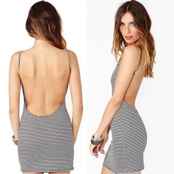 Dresses  Striped Sexy Backless Low Cut Out Back Mini Dress  Poshmark