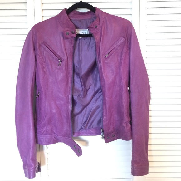 purple leather jacket from